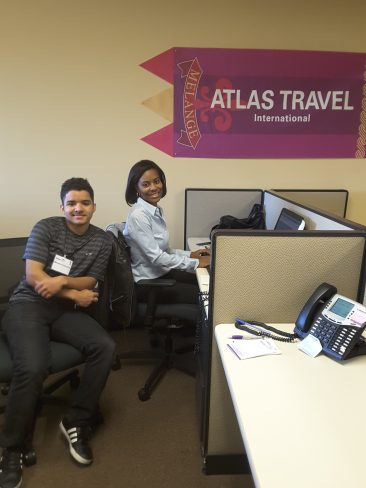 Jamila Adams shows her student what a day in the life of a corporate travel consultant is like!